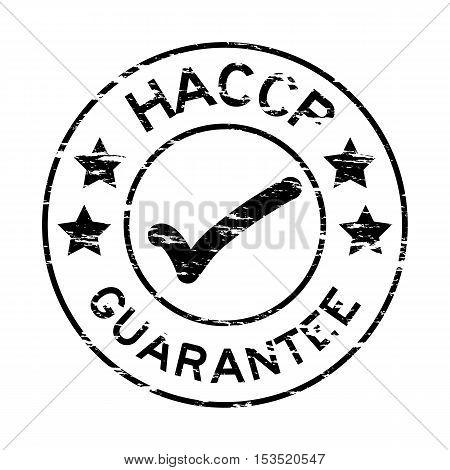 Grunge black HACCP guarantee round rubber stamp