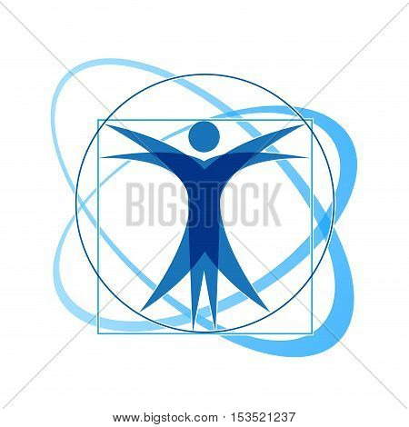 Vector sign in the style of abstract Leonardo da Vinci, isolated illustration