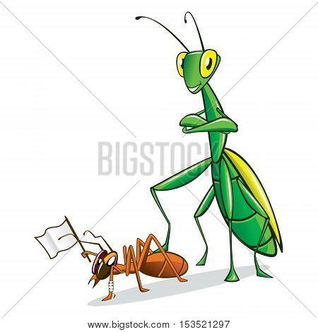 Mantis and Ant Rendered Cartoon Mascot Organic Anti-Pesticide Biologic