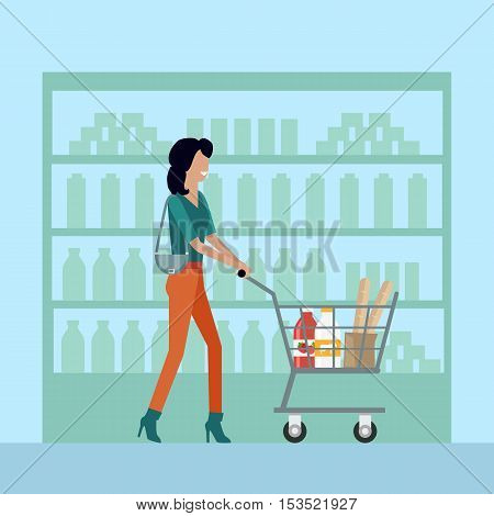 Woman with shopping cart in supermarket. Woman in brown pants. Woman shopping, supermarket shopping, marketing people, market shop interior, customer in mall, retail store illustration in flat