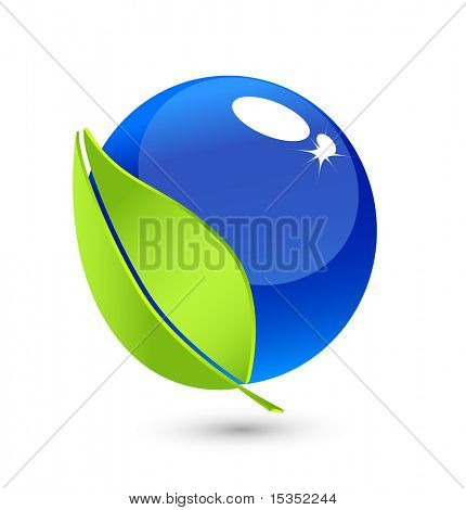 Water ball and leaf. Environmental synbol