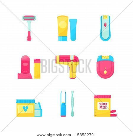 Flat icons set of epilation or hair removal. Bottle of wax sugar paste scissors wax strips shaving razor eyebrow tweezers epilator. Vector illustration on white background