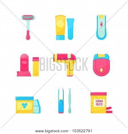 Flat icons set of epilation or hair removal. Bottle of wax sugar paste scissors wax strips shaving razor eyebrow tweezers epilator. Vector illustration on white background