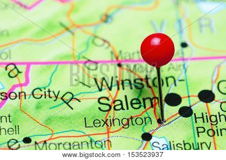 Lexington pinned on a map of North Carolina, USA