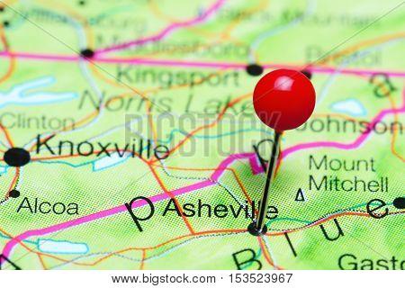 Asheville pinned on a map of North Carolina, USA