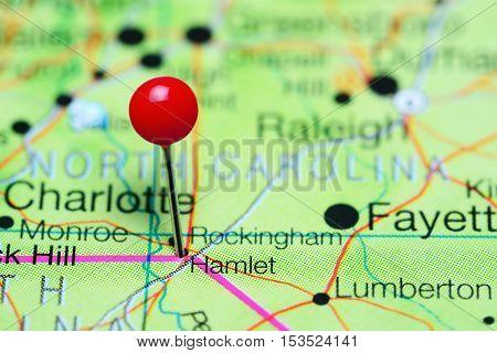 Hamlet pinned on a map of North Carolina, USA