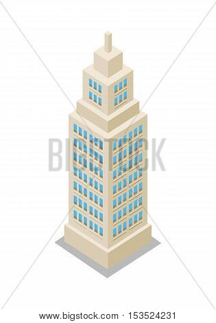 Modern apartment building. Architecture apartment icon, building residential, business multistory building, office building. Isolated object on white background. Vector illustration.