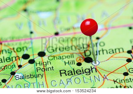 Raleigh pinned on a map of North Carolina, USA