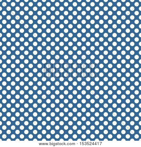 Seamless vector pattern with white polka dots on a sailor navy blue background