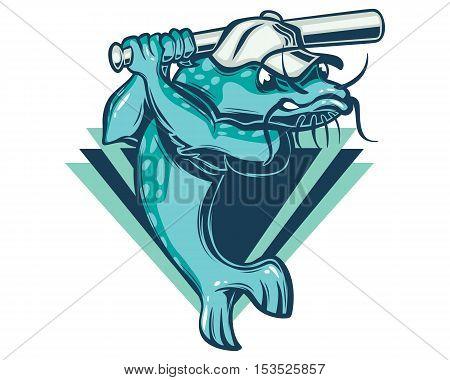 Sport Baseball Team Emblem Mud Catfish Logo