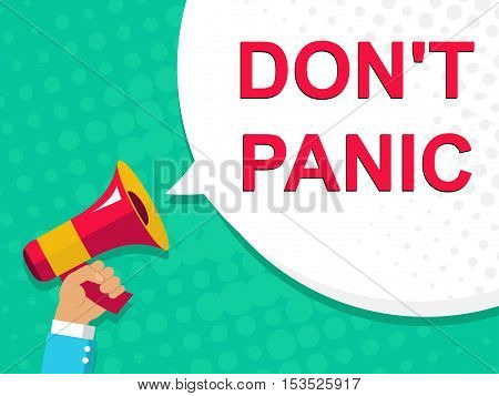 Megaphone With Don't Panic Announcement. Flat Style Illustration