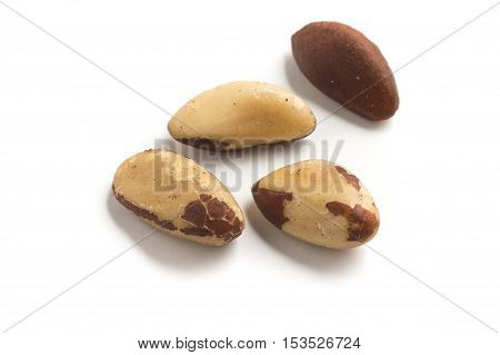 Brazilian Nuts Close-up photo. Castanha do Para isolated on white background