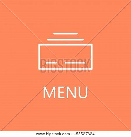 Flat Menu Icon Illustration for Website Navigation. High quality outline pictigram for design website or mobile app. Vector thin line illustration of menu. White symbol on red background