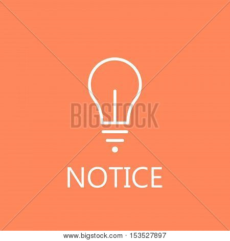 Lamp line icon on color background. Web light bulb line icon. High quality outline pictigram for design website or mobile app. Vector thin line illustration of light bulb.