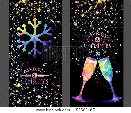 Christmas card with low poly color snowflake and champagne flickering lights. Vector illustration