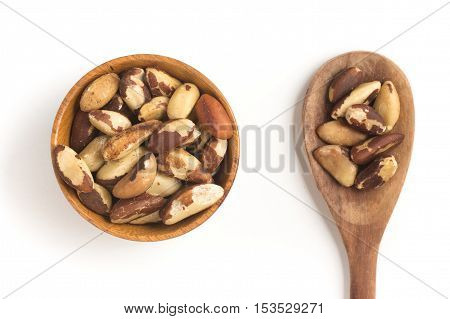 Brazilian Nuts into a bowl. Castanha do Para isolated on white background