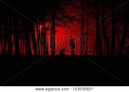 Maniac swings ax on his prey. Murder in the park. Maniac kills his victim in the night deserted park. Silhouettes in night foggy forest