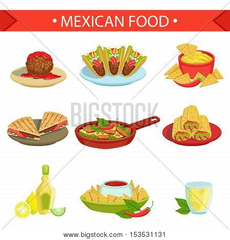 Mexican Food Famous Dishes Illustration Set. Traditional Cuisine Restaurant Menu Plates In Simplified Vector Drawings,