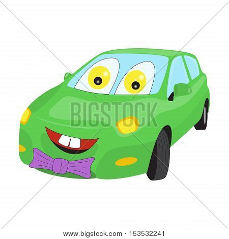 Smiley faced cartoon car with a bow-tie. Bright vector illustration