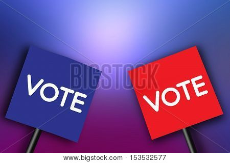The concept of voting signboard with the word Vote on paper Blue and Red on abstract background