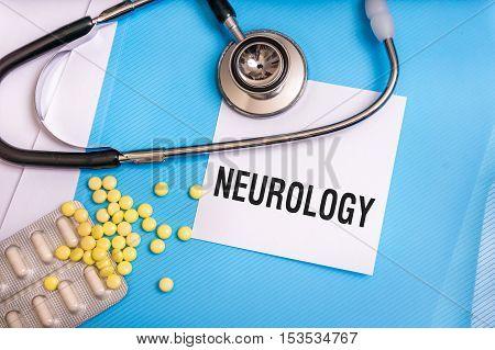 Neurology Word Written On Medical Blue Folder With Patient Files