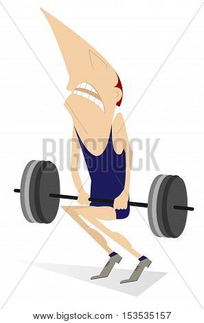 Weightlifter. Cartoon man is trying to lift a heavy weight