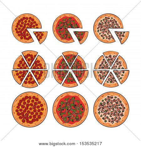 Three types of pizza, whole and sliced into pieces, sketch style vector illustration isolated on white background. Traditional Italian pizza with sausages, shrimps and tomato souce
