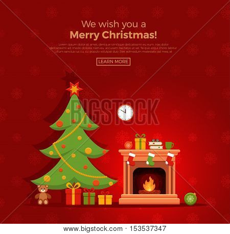 Christmas fireplace room interior in colorful cartoon flat style. Christmas tree, gifts, decoration, fireplace. Cozy noel xmas night celebration interior vector illustration.
