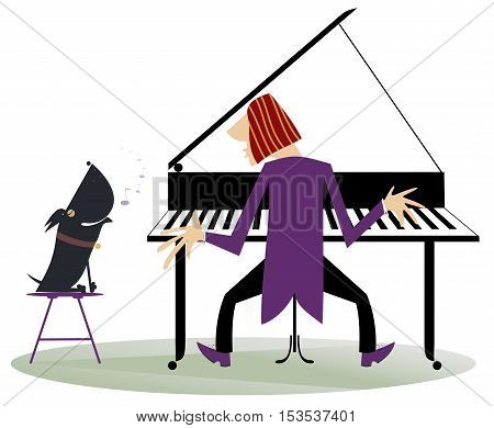 Comic concert. Pianist plays piano and the dog howls