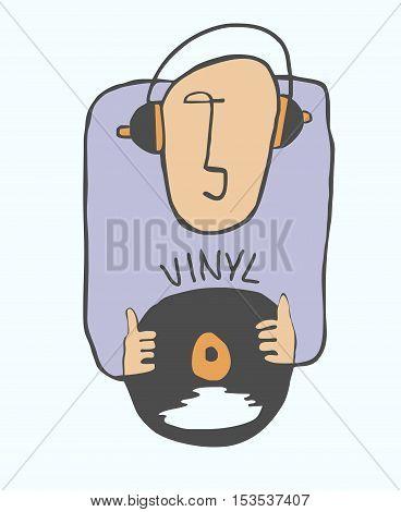 Funny music lover. Funny girl likes listening music on vinyl