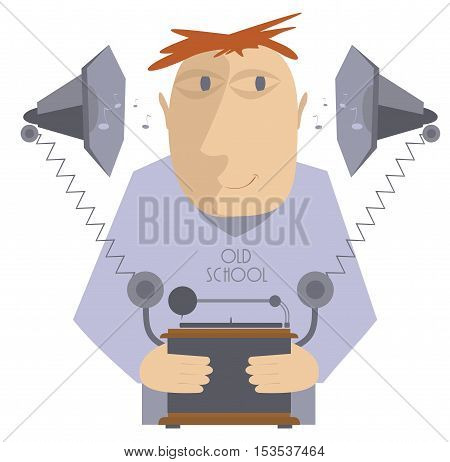Music lover. Funny music lover is listening to music by vintage gramophone