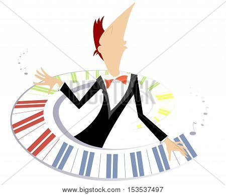 Pianist is playing music with inspiration conceptual illustration