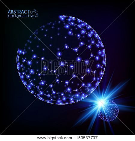 Blue shining cosmic hexagonal grid shining sphere, vector planets concept