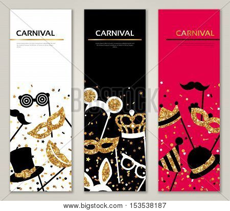 Vertical Banners with Carnival Masks. Celebration Festive Background. Vector Illustration. Glittering Gold Pattern