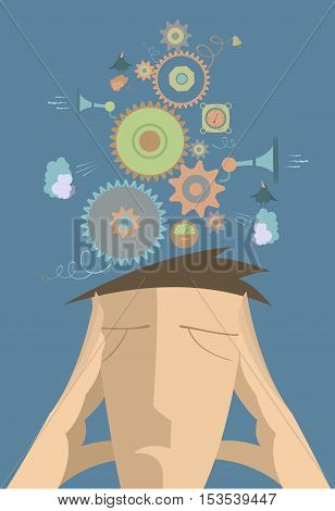 Thinking man concept illustration. Serious man puts hands to the head and thinks about something