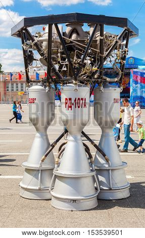 SAMARA RUSSIA - JUNE 12 2016: Space rocket engine RD-107A by the Corporation