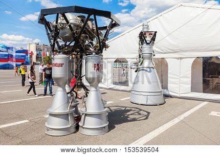 SAMARA RUSSIA - JUNE 12 2016: Space rocket engines RD-107A and NK-33 by the Corporation