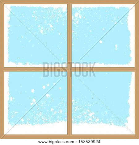 winter snowy window christmas or new year background with four parts for your text vector illustration