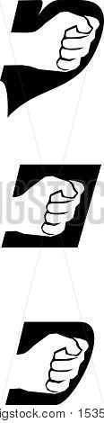 White clench fist icon on black background