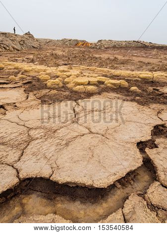 Landscape around sulphur lake Dallol in a volcanic explosion crater in the Danakil Depression northeast of the Erta Ale Range in Ethiopia the hottest place on Earth.