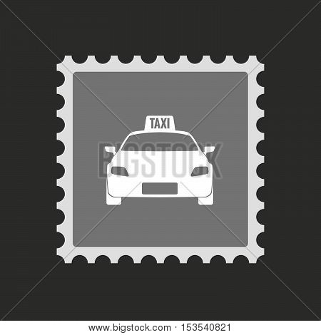 Isolated Mail Stamp Icon With  A Taxi Icon