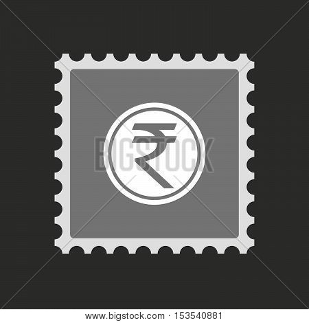 Isolated Mail Stamp Icon With  A Rupee Coin Icon