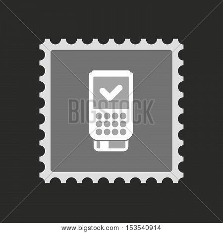 Isolated Mail Stamp Icon With  A Dataphone Icon