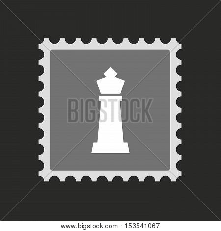 Isolated Mail Stamp Icon With A  King   Chess Figure