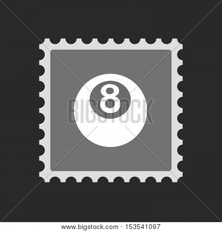 Isolated Mail Stamp Icon With  A Pool Ball