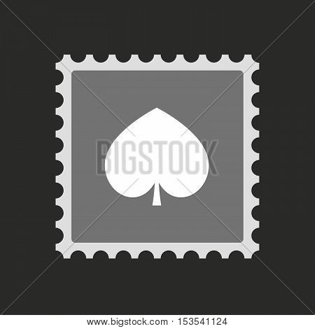 Isolated Mail Stamp Icon With  The  Spade  Poker Playing Card Sign