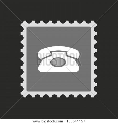 Isolated Mail Stamp Icon With  A Retro Telephone Sign