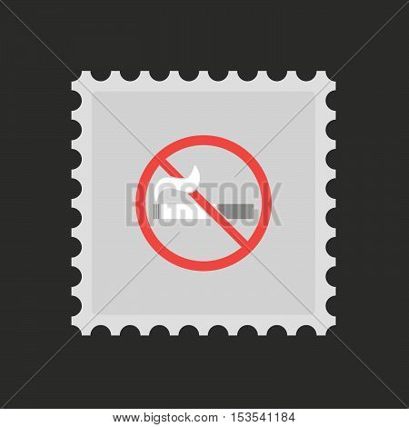 Isolated Mail Stamp Icon With  A No Smoking Sign
