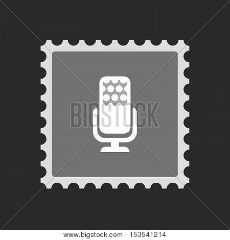 Isolated Mail Stamp Icon With  A Microphone Sign