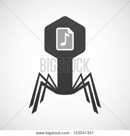 Isolated Virus Icon With  A Music Score Icon